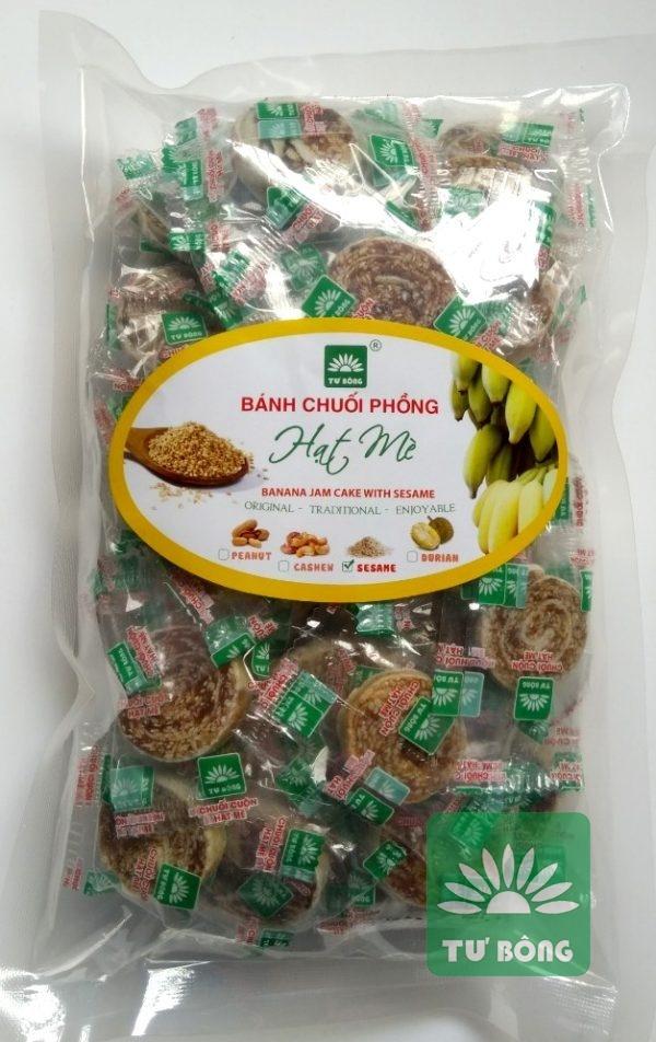 chuối cuộn mè